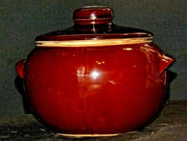 Glazed Ceramic Brown Bean Cook Pot with Lid AA19-1624 Vintage USA image 7