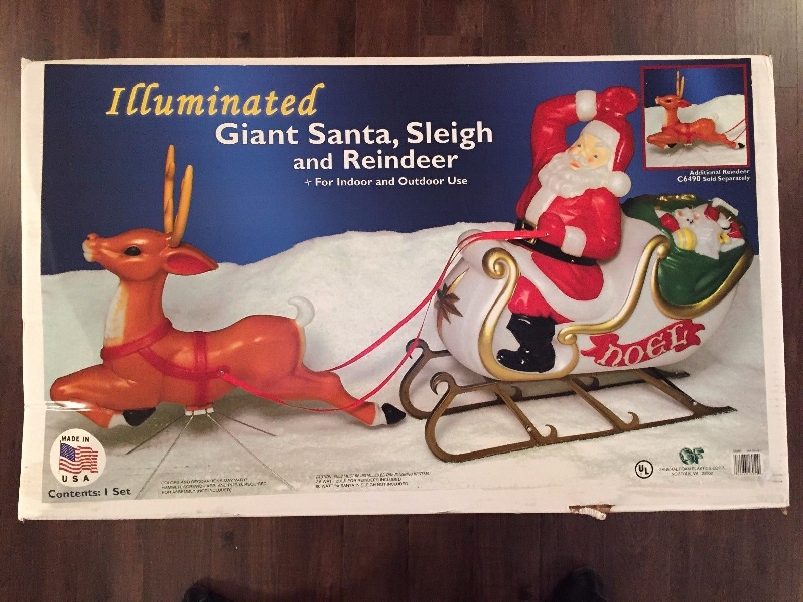 """New 72"""" Christmas Lighted Blow Mold Santa In Sleigh ..."""