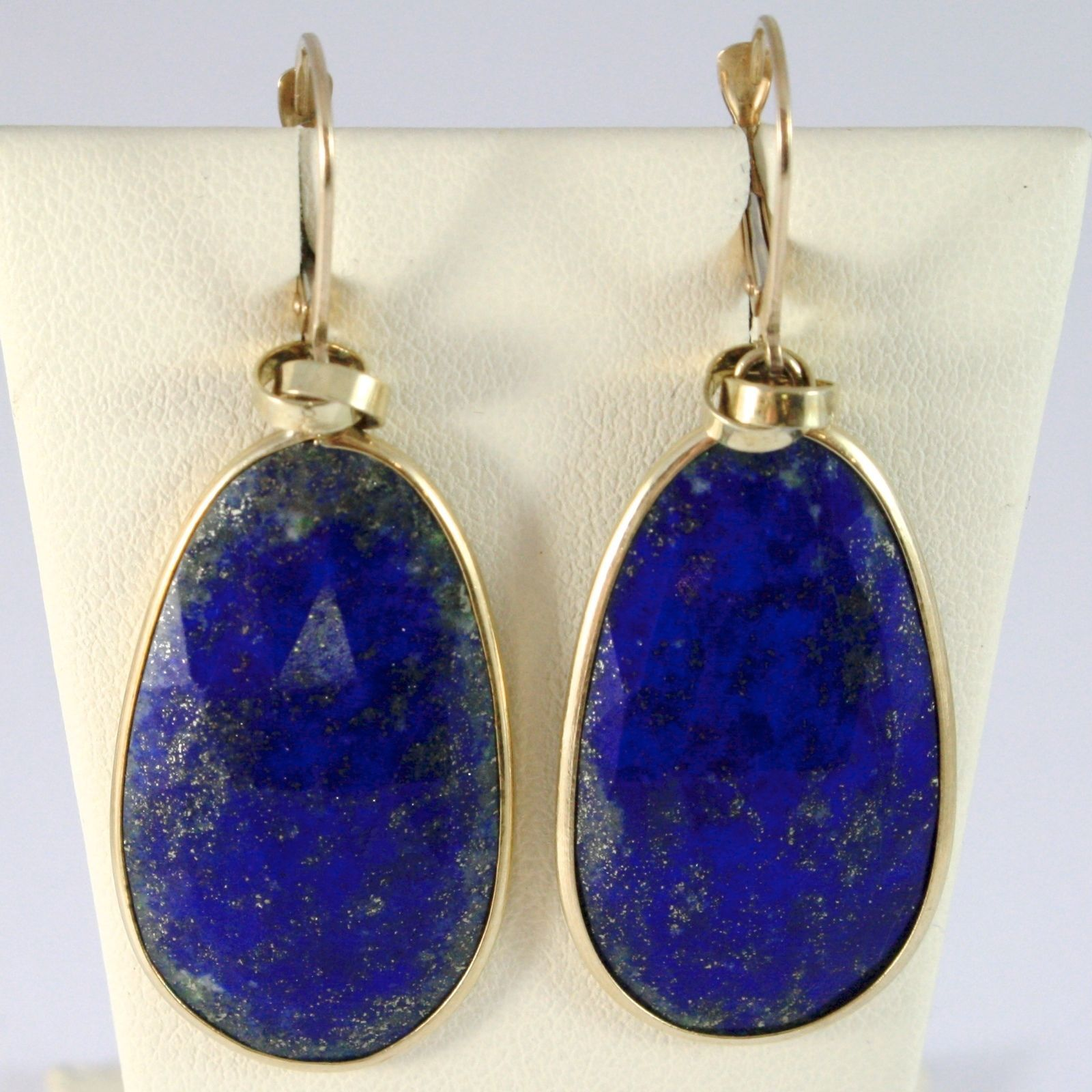 9K YELLOW GOLD PENDANT EARRINGS, DROP BLUE FACETED LAPIS LAZULI, 2 INCHES