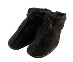 Anne Klein Womens Shoes 10M Brown Suede Faux Shearling Lined Mules Slides Italy - $11.88
