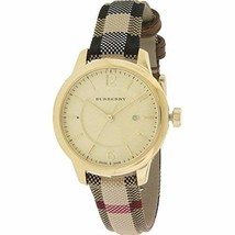 Burberry Gold Dial Stainless Steel Leather Textile Quartz Ladies Watch B... - $435.59
