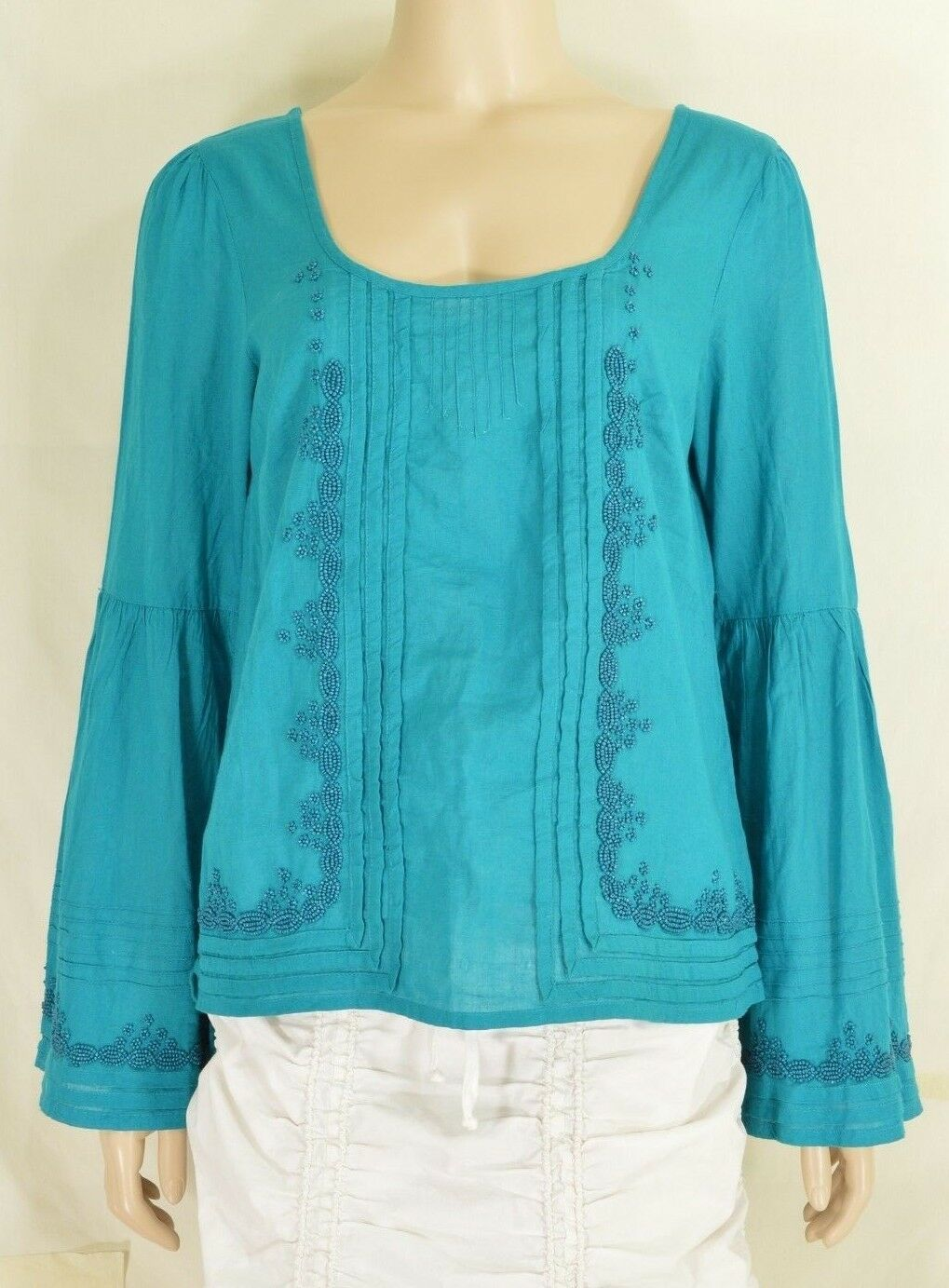 Free People top SZ S turquoise teal beaded long bell sleeves hippie boho gypsy
