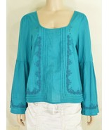 Free People top SZ S turquoise teal beaded long bell sleeves hippie boho... - $59.39