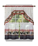 """Kitchen Curtains Tier (57"""" x 36"""") & Swag (57"""" x 30"""") Set, ROOSTER by Achim - $19.79"""