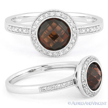 1.80ct Round Cut Garnet Diamond Pave Engagement Ring 14k White Gold Halo... - €458,48 EUR