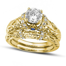 14K Yellow Gold Over Bridal Wedding Ring Set Sapphire & Simulated Diamond  - $120.00