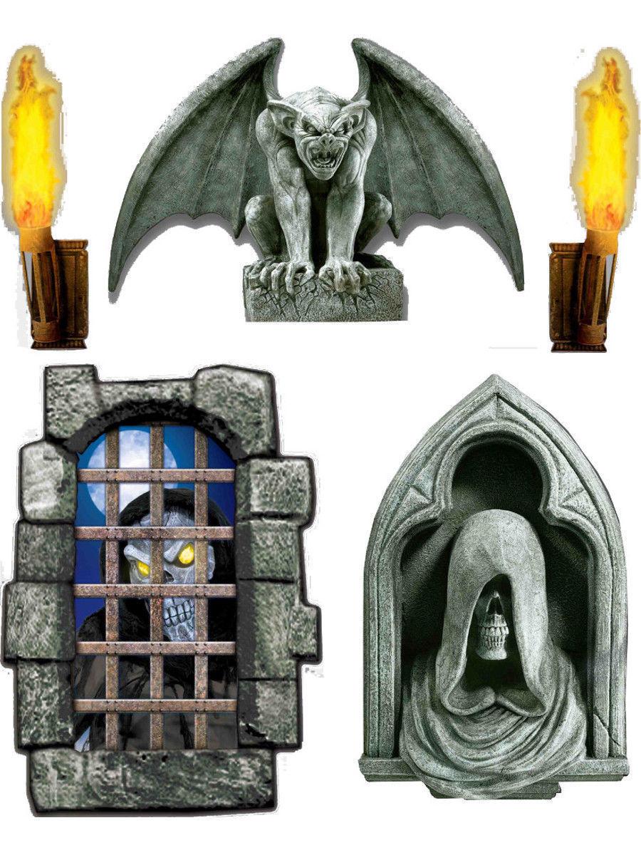 Set of 5 Dungeon Decor Creepy Window Scene Setter Decals - Halloween