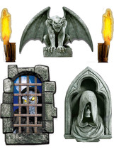 Set of 5 Dungeon Decor Creepy Window Scene Setter Decals - Halloween - $15.00