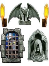 Set of 5 Dungeon Decor Creepy Window Scene Setter Decals - Halloween - $15.00