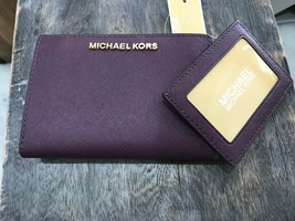 Michael Kors Medium Bifold Card Case Carryall in Damson Plum Saffiano Le... - $41.57