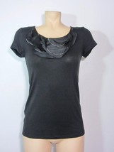 Ann Taylor Women's Shirt XS Black Short Sleeve Ruffle Jersey Knit Top - $19.64