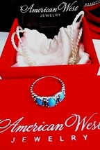 American West Sleeping Beauty Turquoise Ster/Silver 3-Stone Ring ~ 7 NEW... - $129.95
