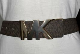 Michael Kors Belt Reversible Brown/Black Mk Printed Mini Logo MK Gold Bu... - $42.99