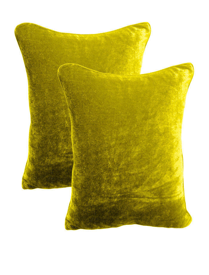 Primary image for Set Of Two 100% Cotton Velvet Pillow Covers Zipper Shams - Lemon Grass