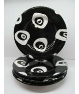 "Tabletops Unlimited Panda Eyes Hand Painted Black & white 11 1/4"" Dinner... - $67.62"