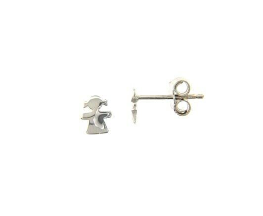 18K WHITE GOLD EARRINGS SMALL FLAT GIRL, SHINY, SMOOTH, 5mm, MADE IN ITALY