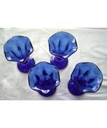 """Cobalt Blue Tulip Ice Cream Sundae Parfait Glasses 6"""" Tall Vintage Set of 4 - $24.99"""