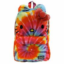 Hello Kitty Rainbow Tie Dye Backpack Bag Loungefly Sanrio 3D Bow Face NEW - $88.00