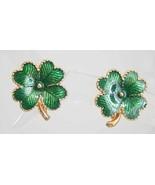 Avon Mid Century Modern Basse-taille Enamel 4-leaf Clover Clip Earrings - $12.82