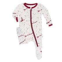 Kickee Pants Holiday Footie With Zipper - Natural Flying Santa, Newborn - $52.06