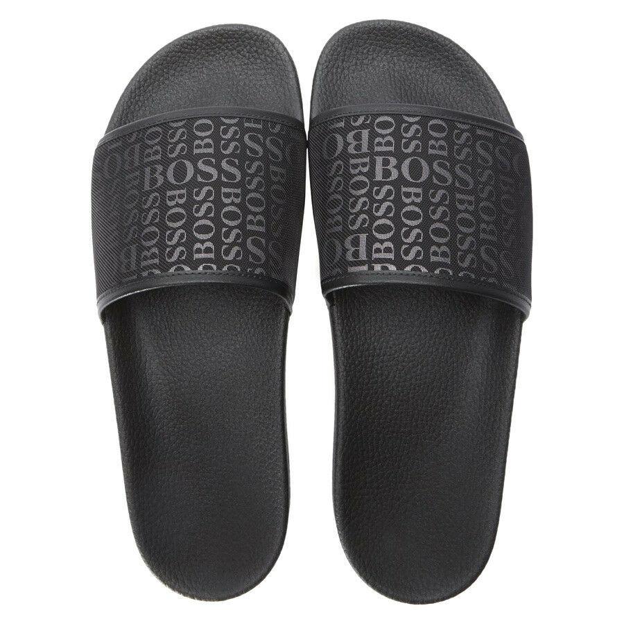 Hugo Boss Men's Slip On Graphic Solar Logo 2 Slider Sandals 50401863 Black