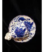 Half of Tea Cup Night Night Ceramic Floral Formalities Baum Bros Blue White - $14.00