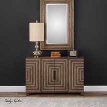 "NEW NEW 49"" MODERN GEOMETRIC TWO TONE FINISH FIR WOOD CABINET CONSOLE 2 ... - $655.60"