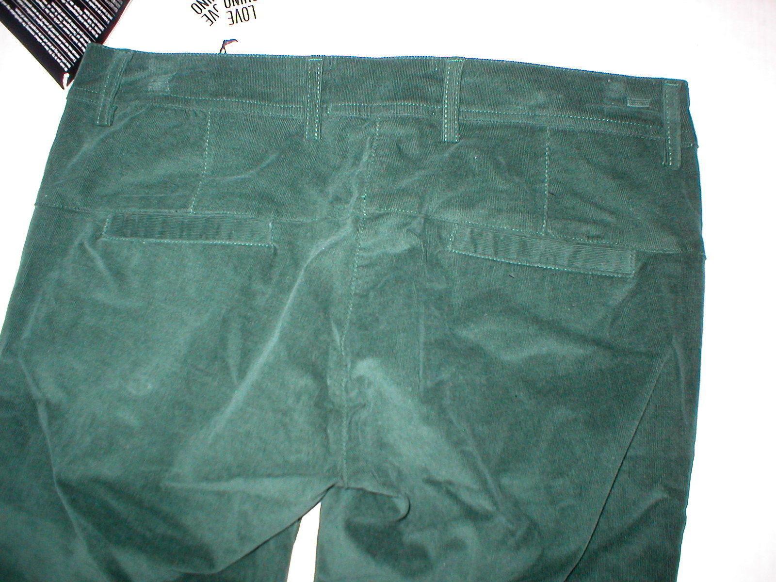 New NWT Womens 4 Dark Designer Love Moschino Green Velvet Pants Corduroy Skinny image 4
