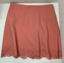 Ann Taylor Loft Women's Size 10 Pink Peach Eyelet Hem Knee Length Skirt M2 - $15.74