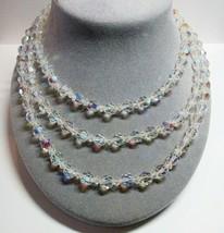 "VTG AB Aurora Borealis Crystal Bead Beaded 54"" Length Sterling Silver Ne... - $36.61"