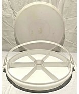 Vintage Tupperware #405 White Divided Serving Tray W/ Lid #224 & Carry H... - $12.86