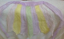 Vintage Fancy Nylon Apron Pastel Pink Yellow Green 1950s - $12.82