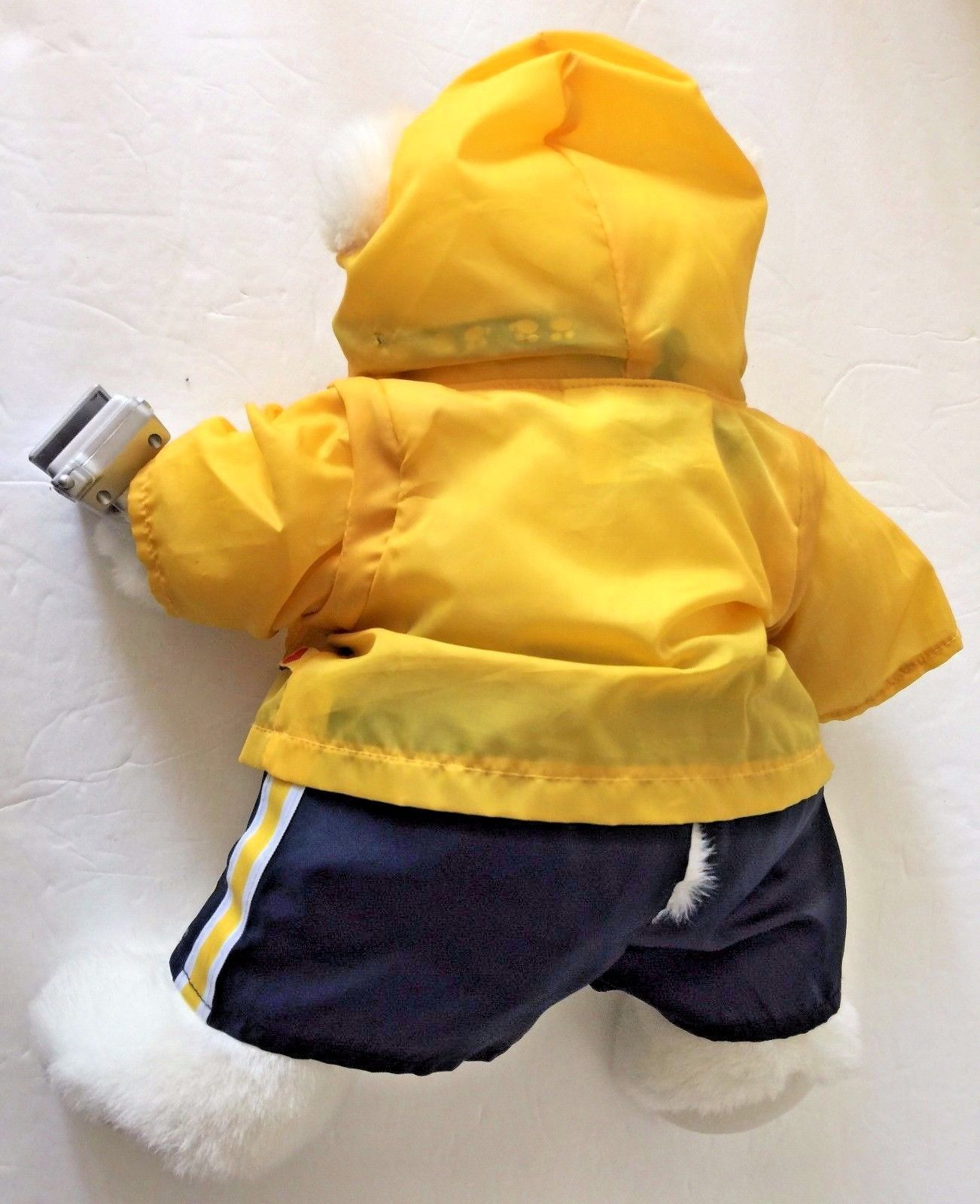 Build a Bear White Teddy Bear with Pink Nose Wearing Yellow Windbreaker Shorts