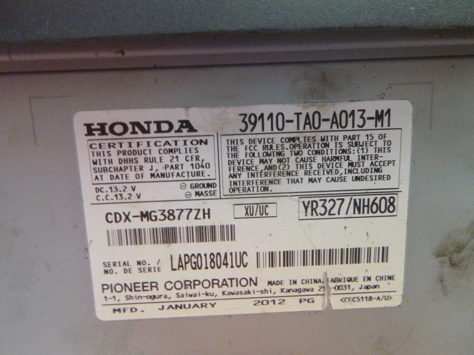 08 09 10 11 12 Honda Accord Premium Remote 6 Cd Player 39110-TA0-A013 KB640