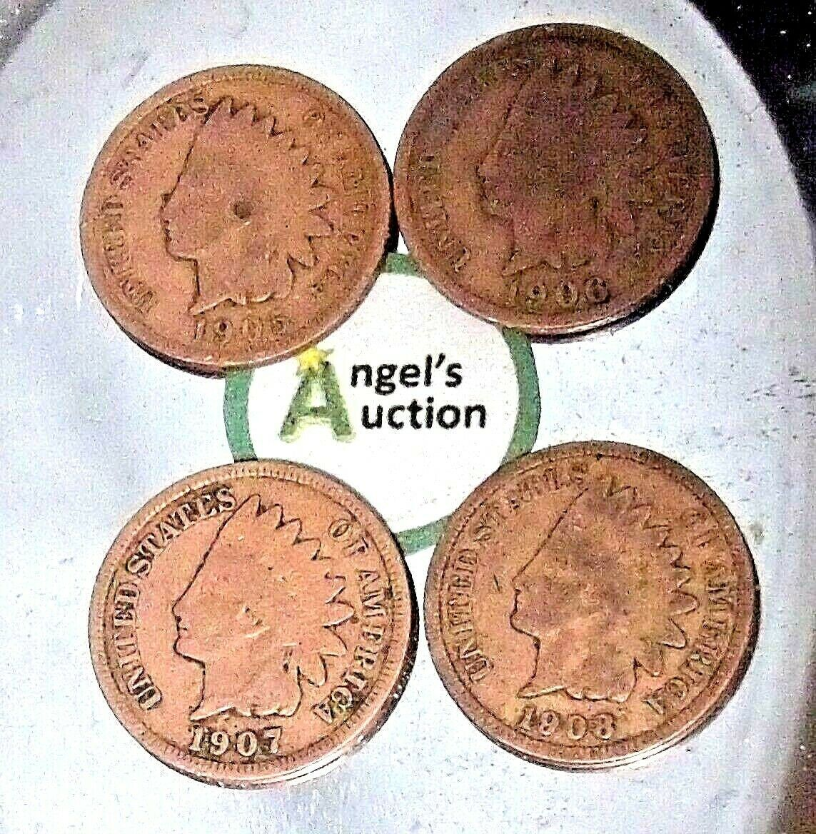 Indian Head Penny 1905, 1906, 1907, and 1908 AA20-CNP2145 Antique