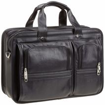 "Samsonite 100% GENUINE Leather Portfolio Black 15.4"" COMPUTER COMPATIBLE... - $194.50"