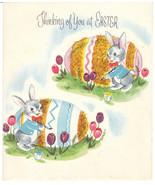 Vintage Easter Card Bunny Rabbit Decorates Big Egg Glitter Embossed - $8.90