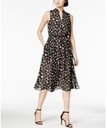 $119  Anne Klein Drawstring A-Line Dress Oyster Shell Black Combo 16 - $83.05