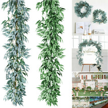 Artificial Plants Greenery Garland Willow Vine Silk Vines Leaf Wreath Di... - $23.75
