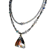 AB Crystal Pyramid Drop Double Strand Necklace image 3