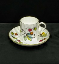 Royal Worcester Fine Bone China Strawberry Fair Pattern Demitasse Cup & Saucer - $9.85
