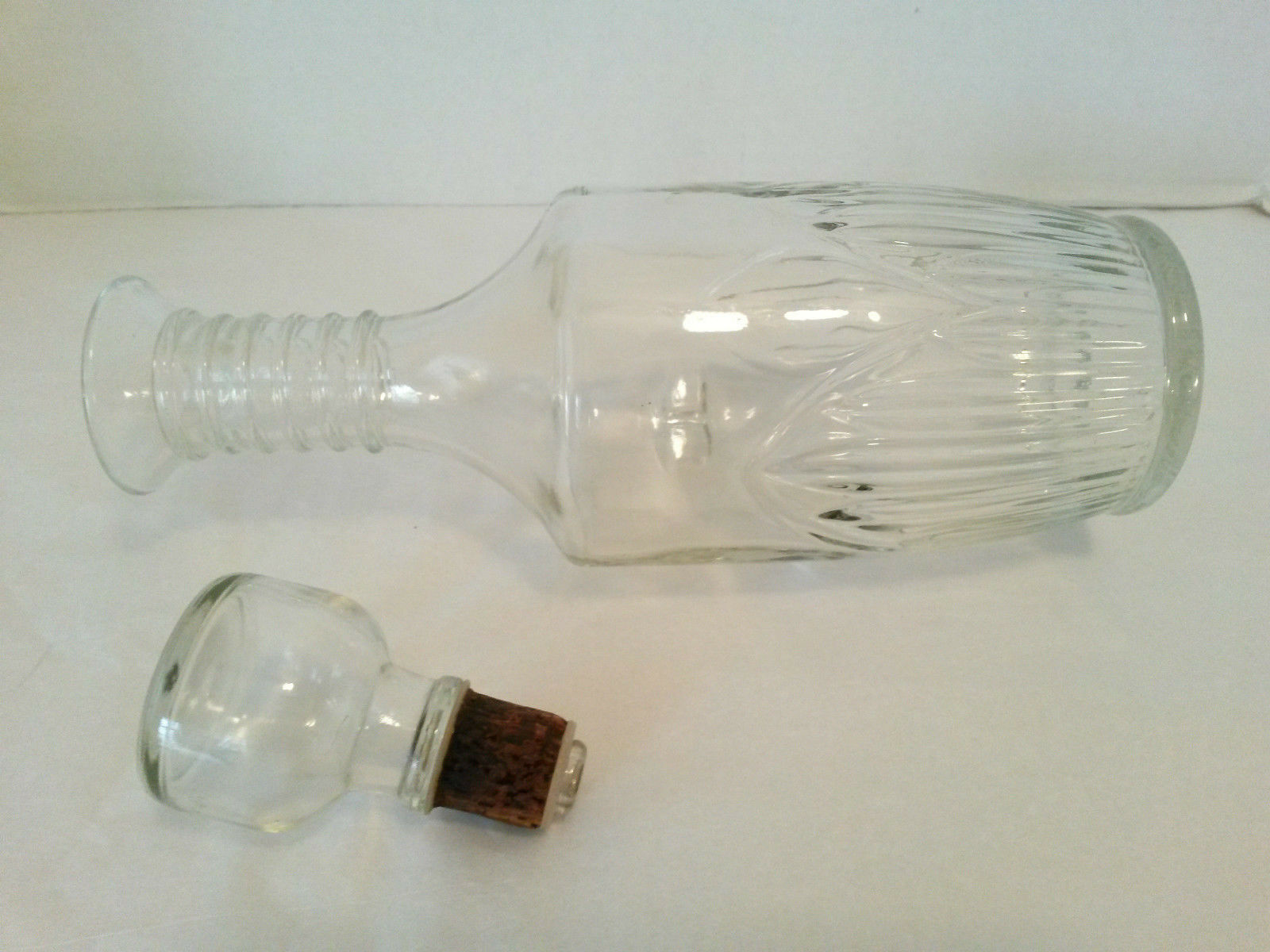 "OWENS ILLINOIS Decanter Vintage 1964 Clear Glass Bottle & Stopper 11 1/2"""