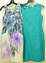 Elie Tahari dress SZ 2 LOT of 2  1 turquoise 1 floral sheath career chic lined image 4