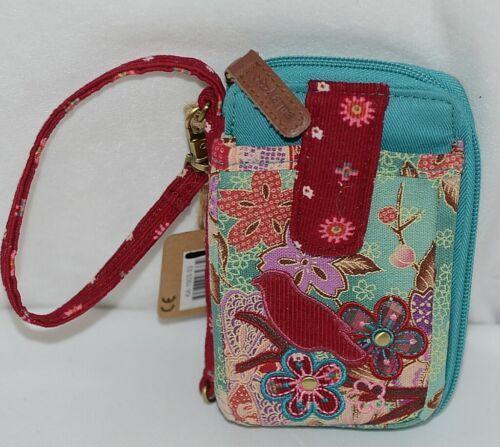 Karma Brand KA100333 Red Bird Floral and Plaid Print Womens Wristlet