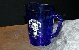 1930's Hazel-Atlas Shirley Temple Cobalt Blue Glass Pitcher AA20-2085 Vintage image 3