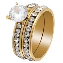 Sparkling Solitaire 8mm Cz Gold Stainless Steel Luxury Wedding Ring Set image 2