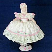 Vintage Figurine Lady Stiff Lace Dress 2 Pc Green Pink 1954 Chips - $19.79
