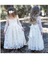 Girls Kids Toddlers Lace Long Sleeved Special Occasion Party Dress with ... - $29.99+