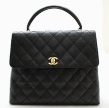 CHANEL JUMBO Black CAVIAR Leather TOP HANDLE Flap Bag 24k GH AUTHENTICATED! - $2,928.24