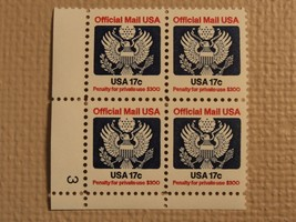 USPS Scott O130 17c Official Mail USA 1983 Mint NH Plate Block 4 Stamps - $6.18